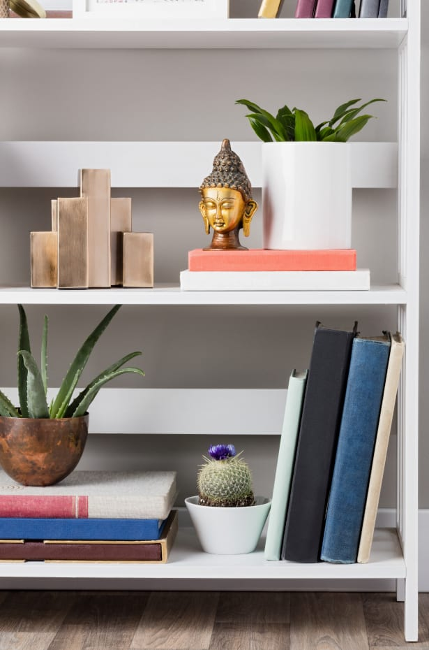 White Bookshelf With Decor on the Shelves