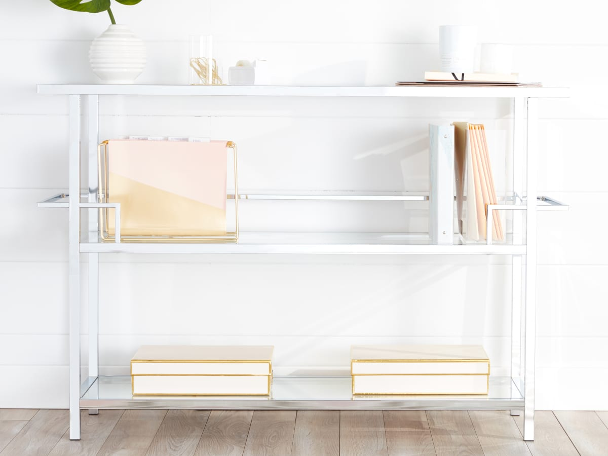Organized Shelves in a Glam Home Office