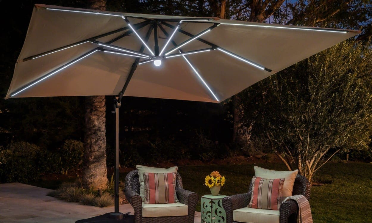 Merveilleux Brighten The Night With Umbrella Accent Lights. Patio Umbrella With Lights