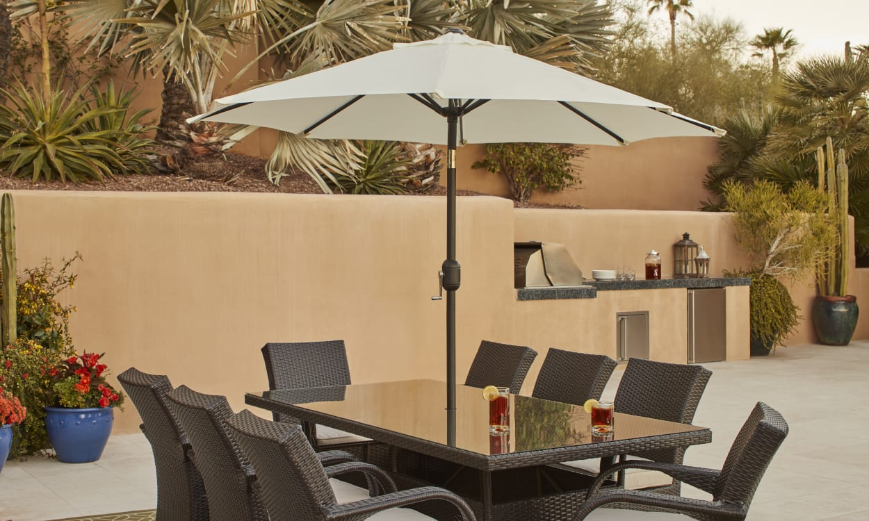 Patio Umbrella, Shading An Outdoor Table.