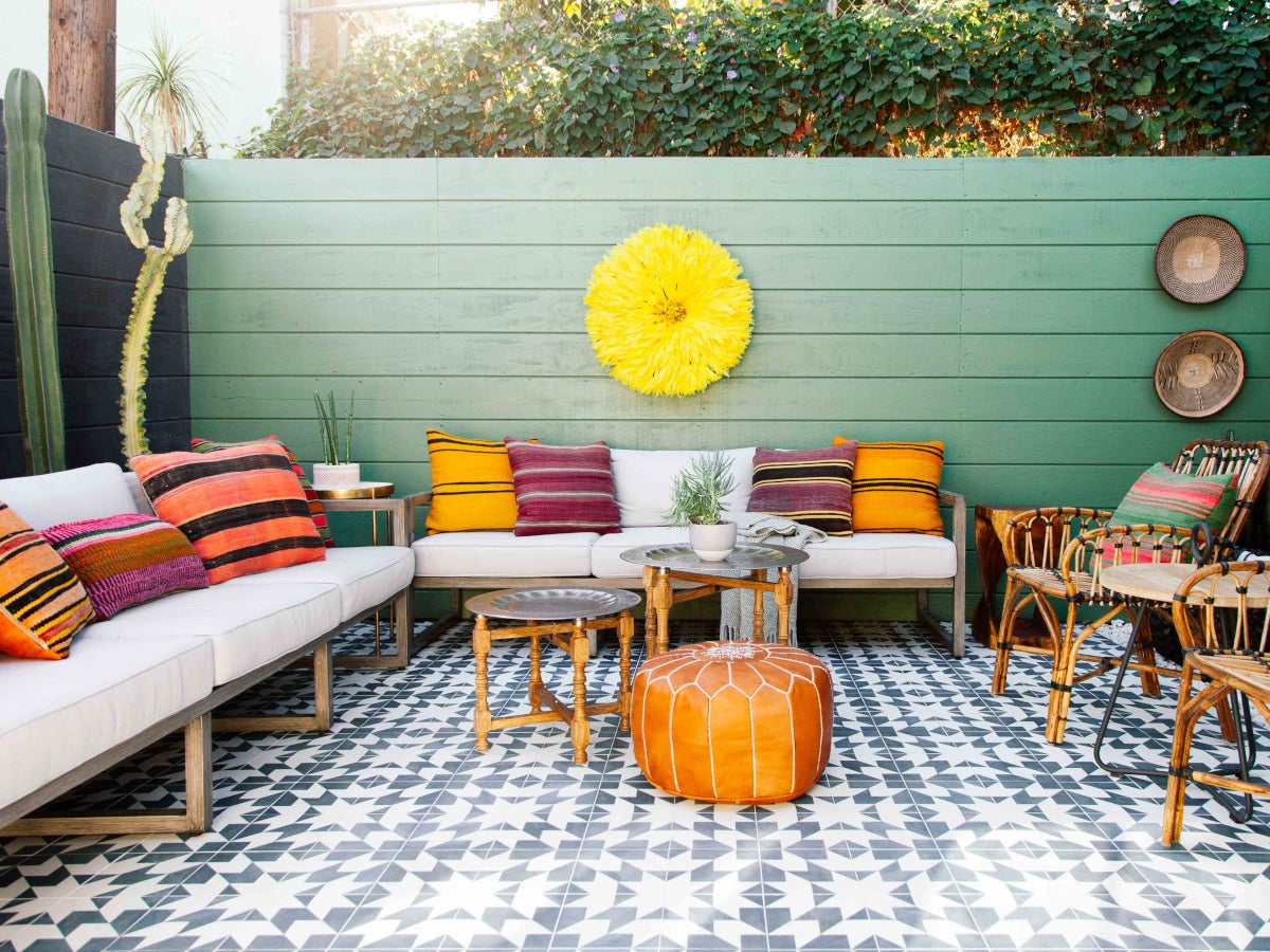 Outdoor patio decorated in a boho style