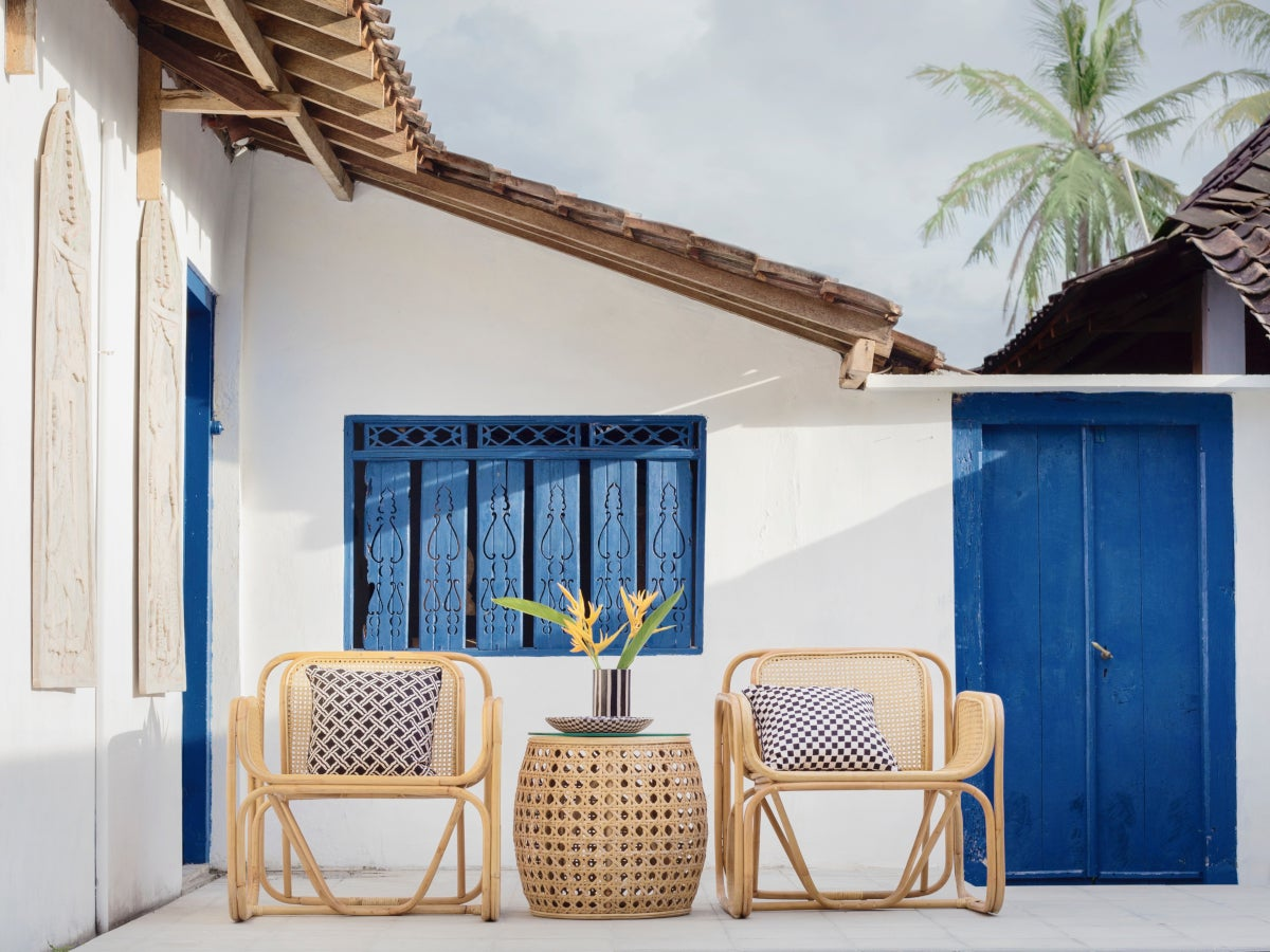 Outdoor patio with rattan chairs