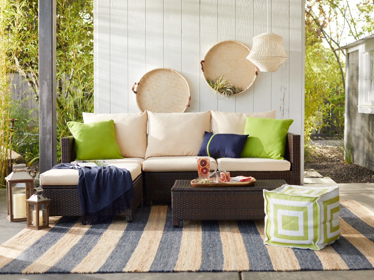 Outdoor patio with a striped outdoor rug