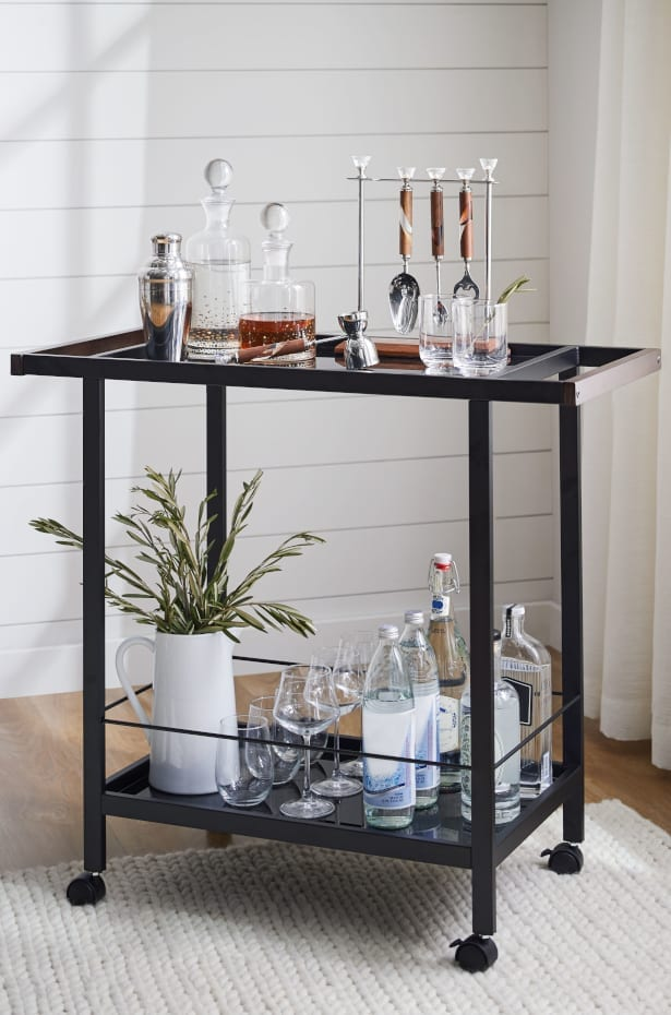 How to Decorate With Black Dining Room Furniture: Add an Elegant Black Bar Cart