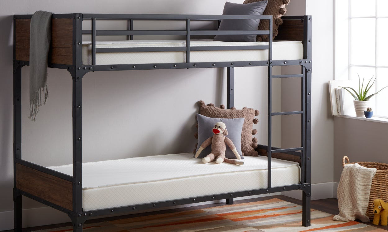 Memory foam mattresses on a bunk bed frame