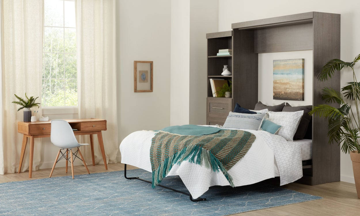 Memory foam mattress on a murphy bed frame