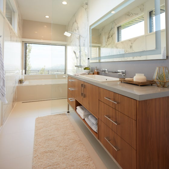 Bathroom with a runner rug