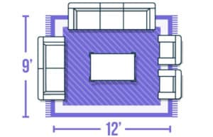 Graphic showing a medium to large sized rug placed under a living room furniture arrangement