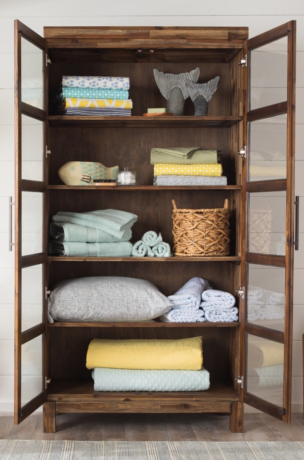 Linen closet stacked by priority
