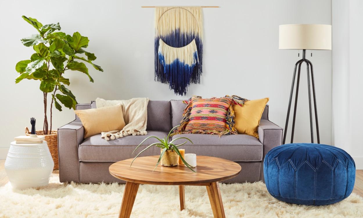 Shag rug styled in a boho living room