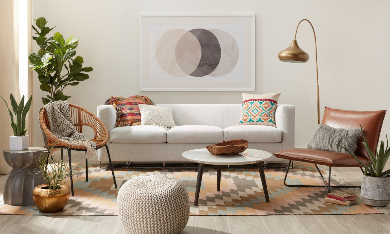 Southwest rug styled in a living room
