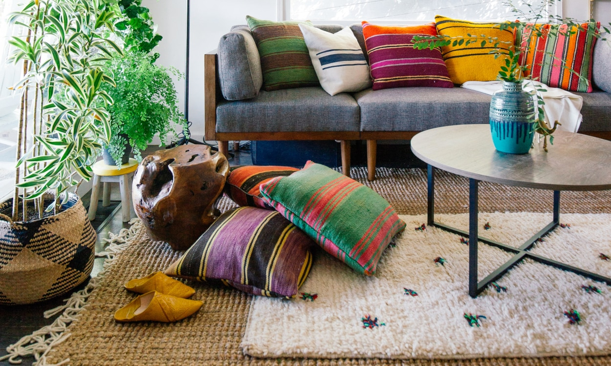 Jute Rug styled in a boho living room