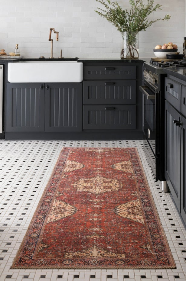 Red and Ivory Oriental runner rug styled in a kitchen