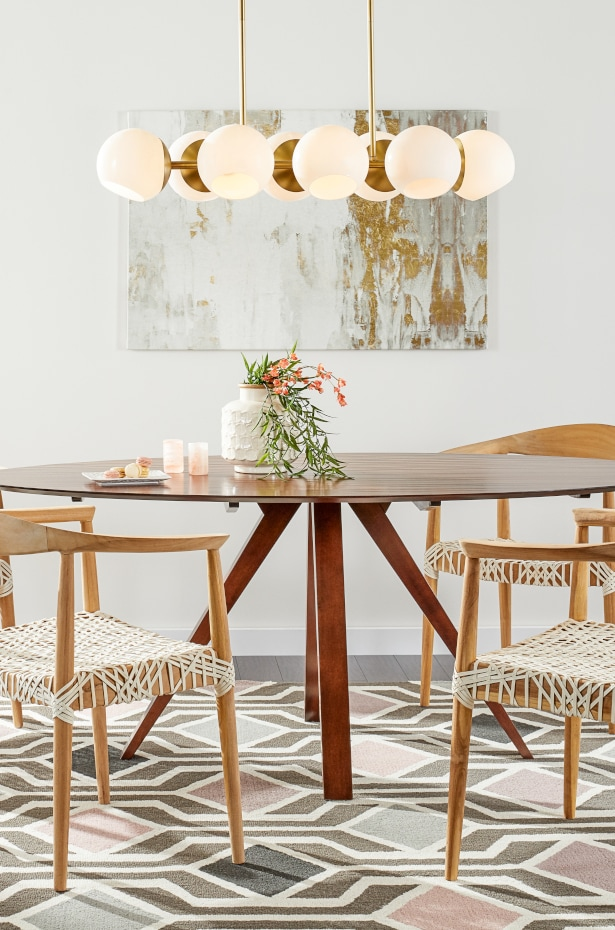 LED chandelier in a mid-century modern dining room