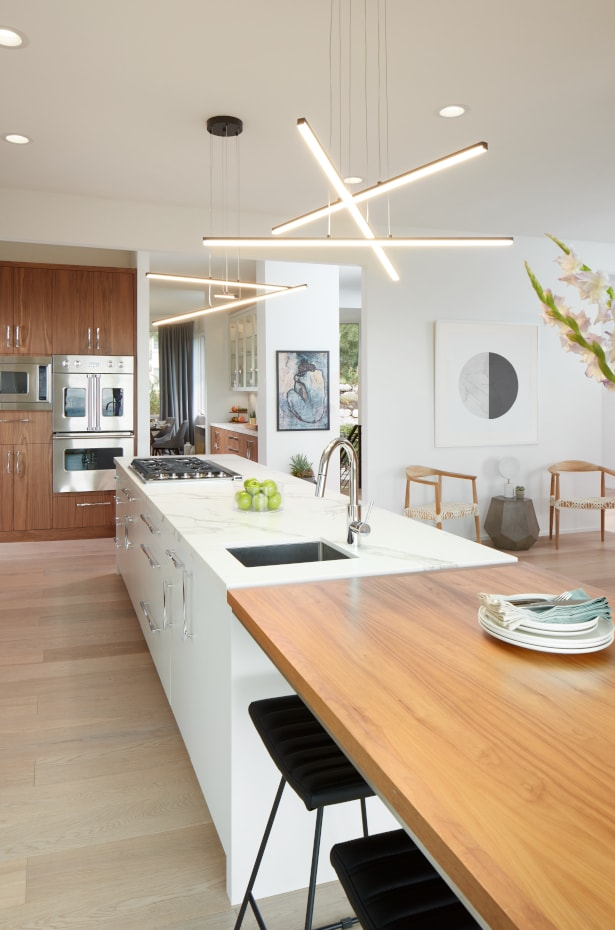 Fluorescent light fixture in modern kitchen