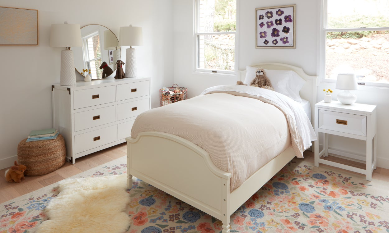 Pink bedding styled in a girl's bedroom. Bedding 101