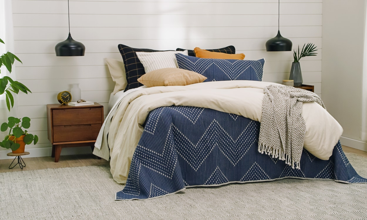 Bedding: duvet cover, comforter, sheets, and pillowcases styled on a bed. Bedding 101