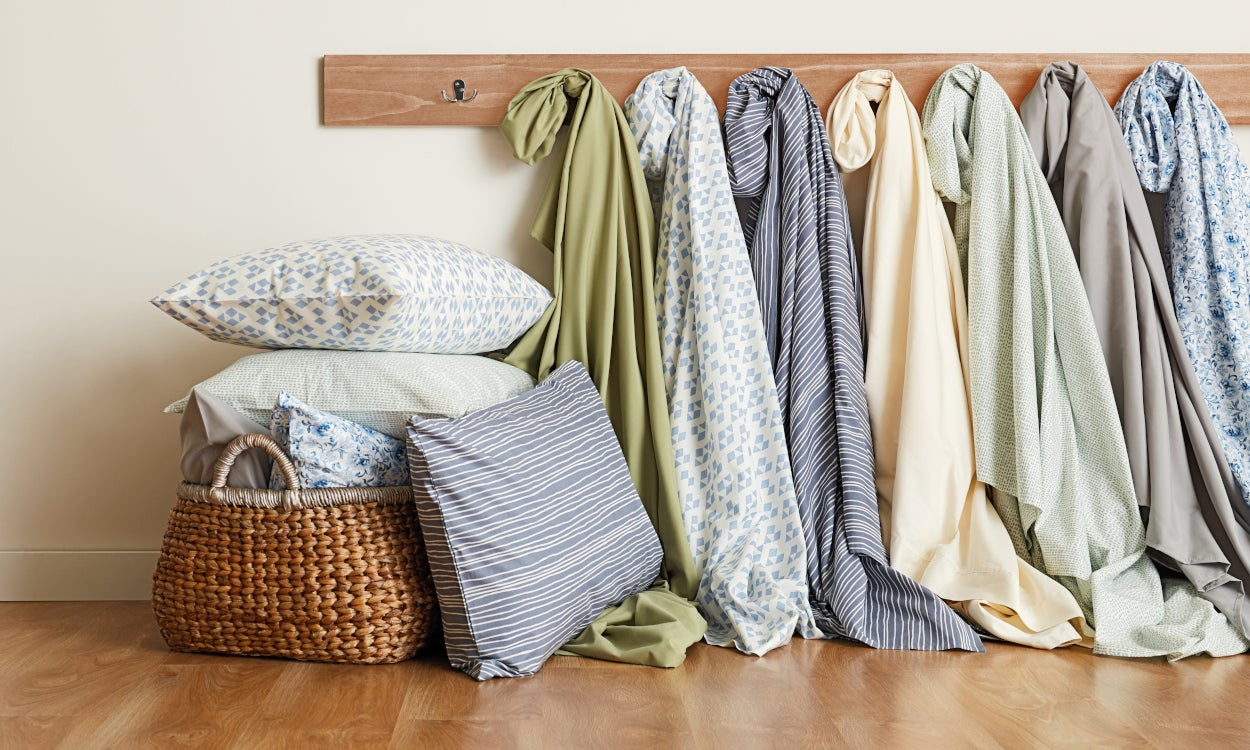 Bed sheets washed and folded or hung
