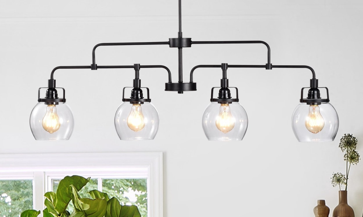 Black chandelier light fixture with glass bowl lamps - Home Lighting Design Tips