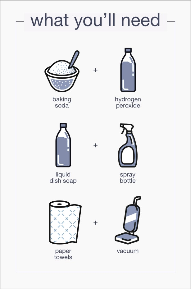 To remove sweat you will need baking soda, hydrogen peroxide, soap, paper towels, and a vacuum