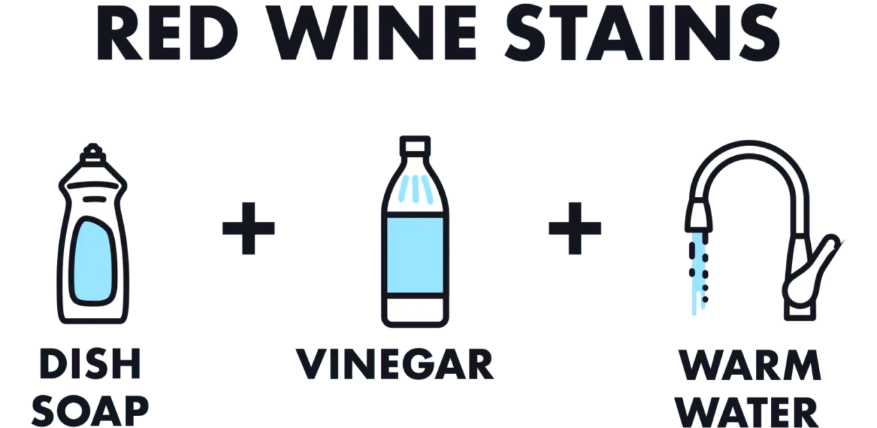 An infographic showing you how to remove red wine from a wool rug, you'll need dish soap, vinegar, and warm water