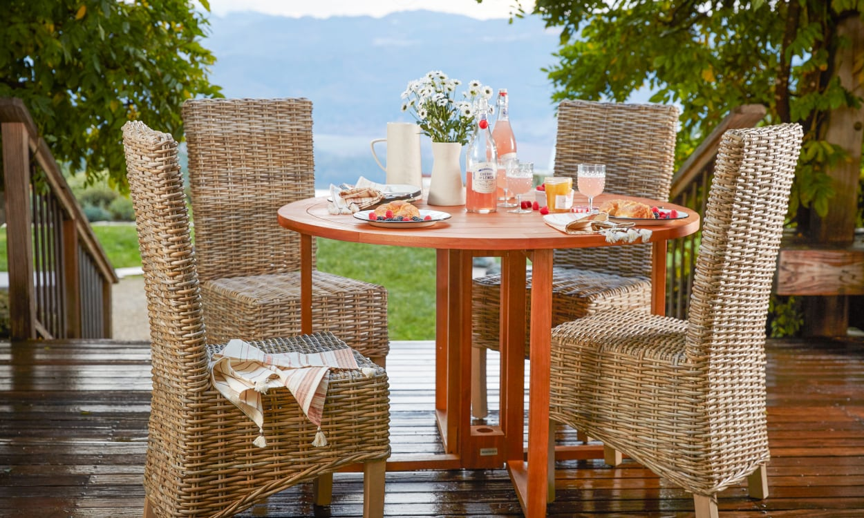 Wood Outdoor Patio with Wicker Outdoor Dining Chairs