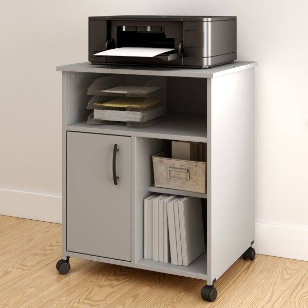 Gray printer cart with extra storage for small space offices