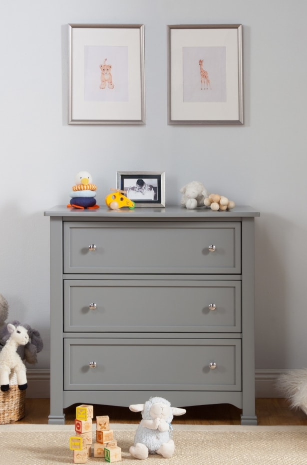 Gray dresser for a baby nursery