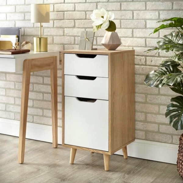 Wooden small filing cabinet for a small space office.