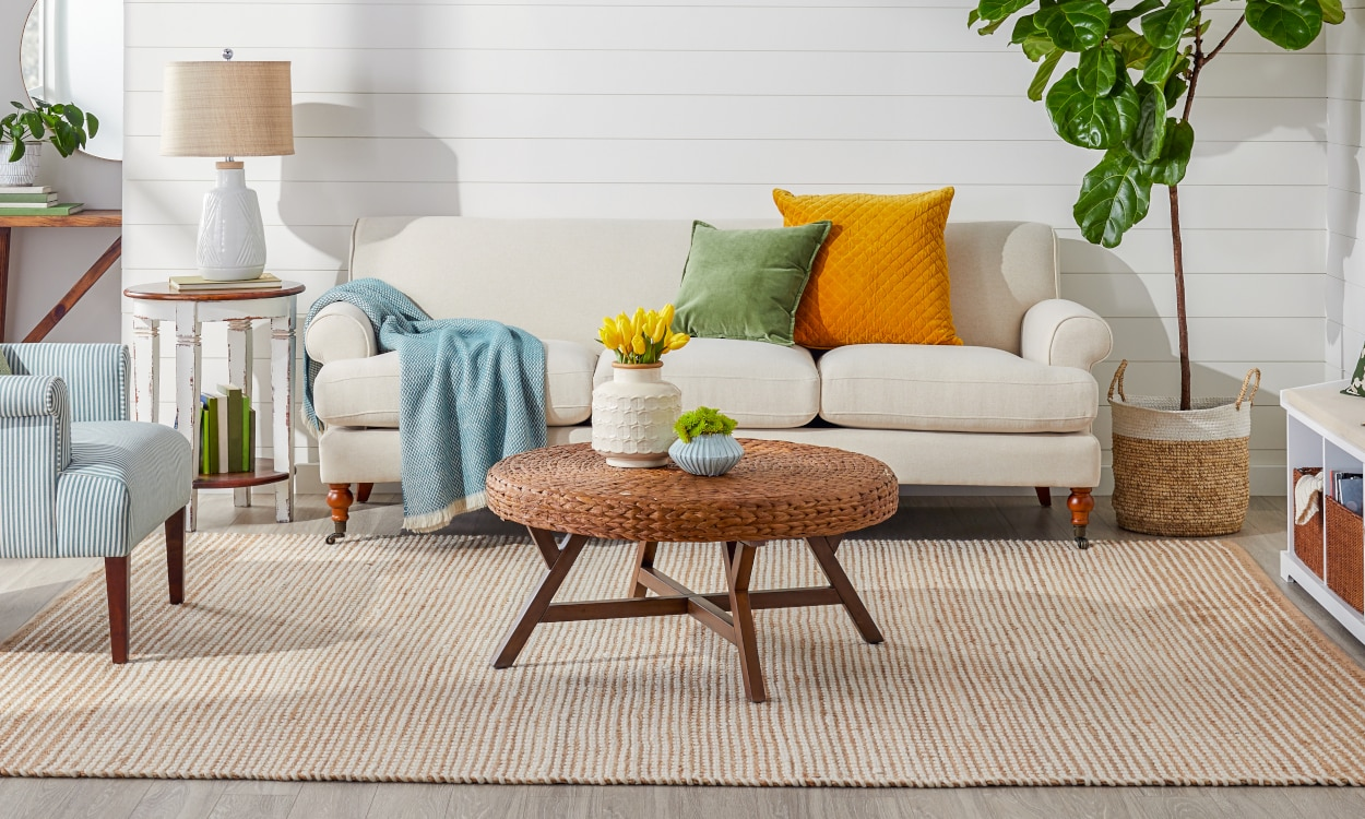 Living room with jute rug