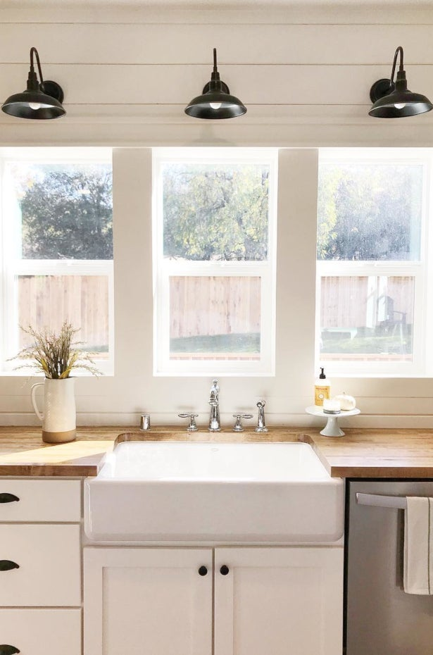 Farmhouse kitchen with white sink