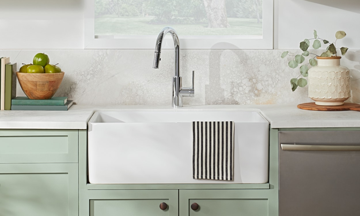 White apron kitchen sink in pretty kitchen