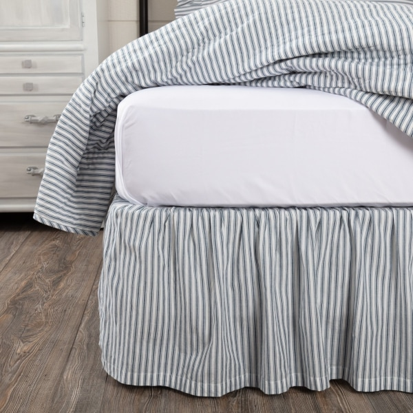 For full-style skirts, place the skirt on the box spring as you would a flat sheet on your mattress