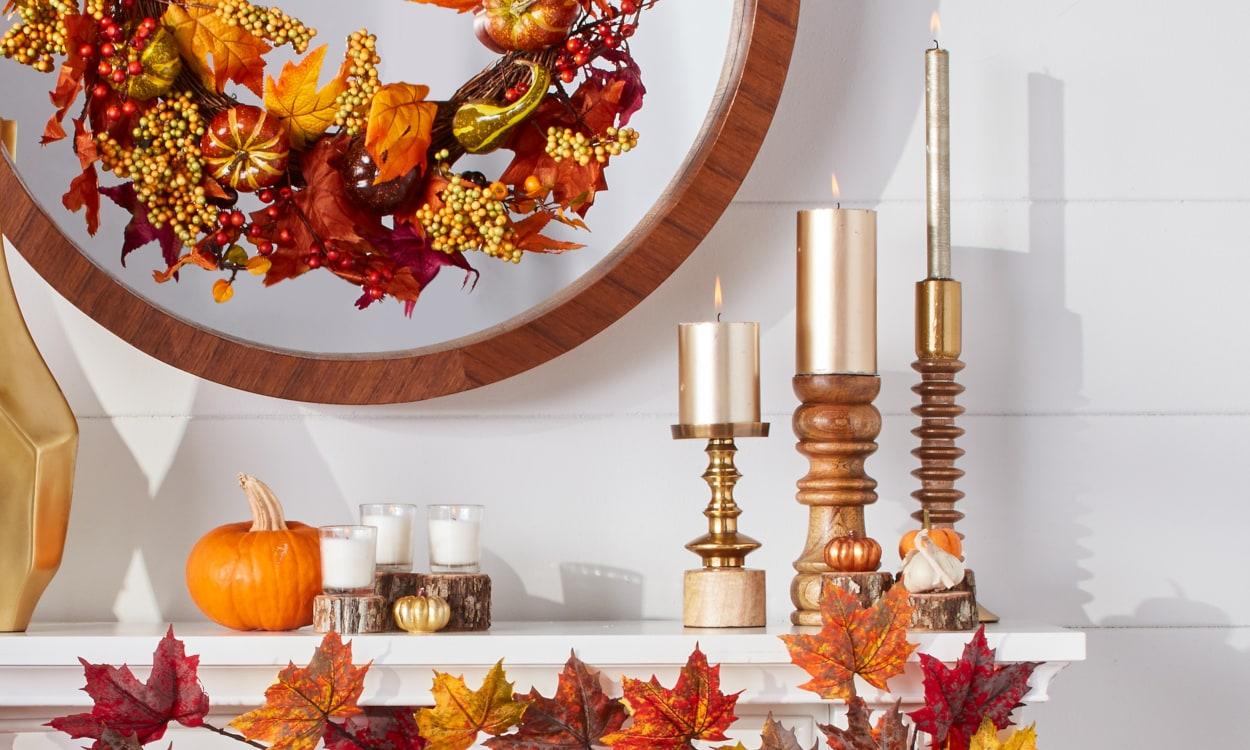 Cheerful Fall Mantel Candles
