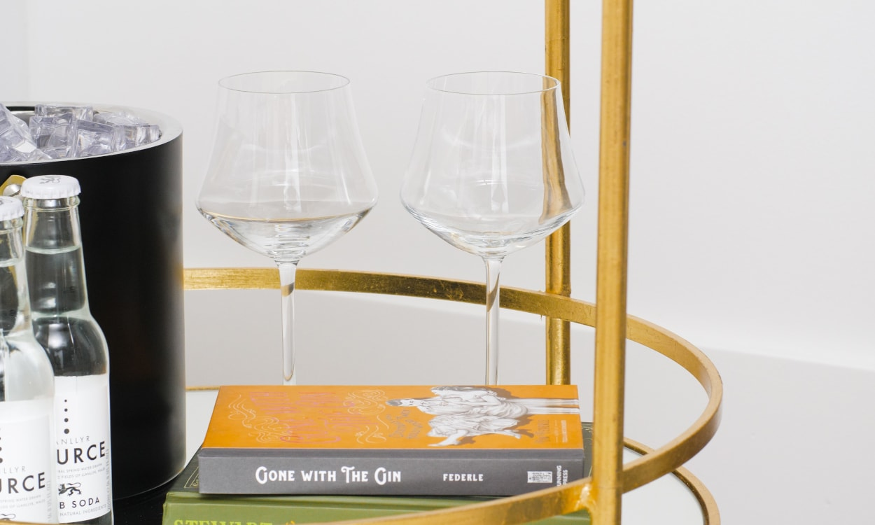 bar cart glassware