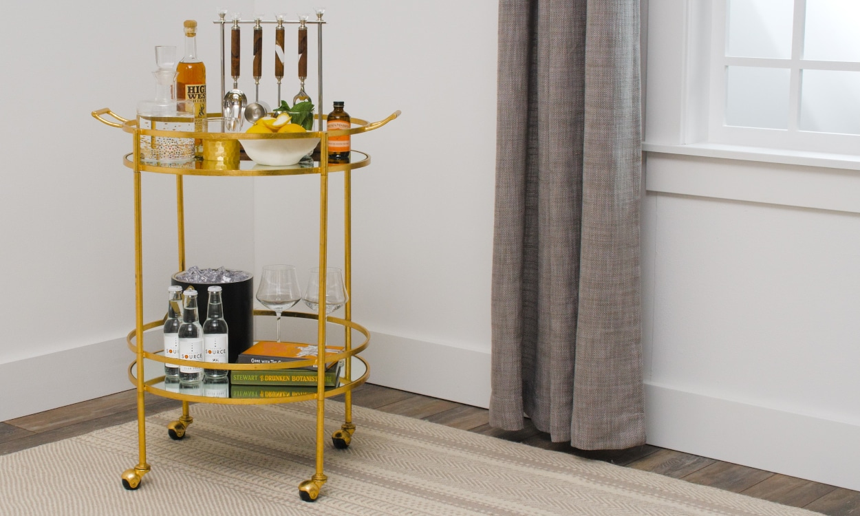 decorated bar cart